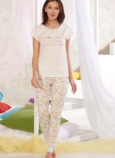 Sevim Baskılı Pijama Takımı Ekru